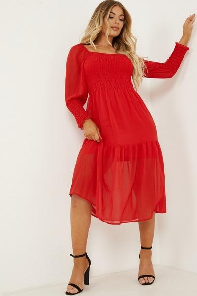 Petite Red Chiffon Shirred Tiered Midi Dress