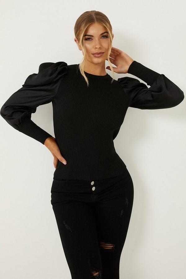 Petite Black Knitted Satin Puff Sleeve Jumper