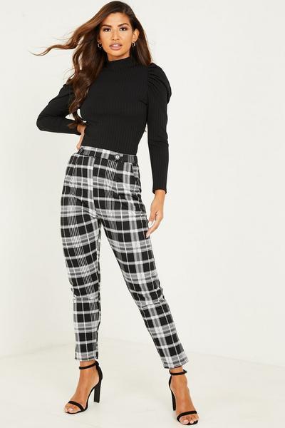 Black Check Button Detail Trousers