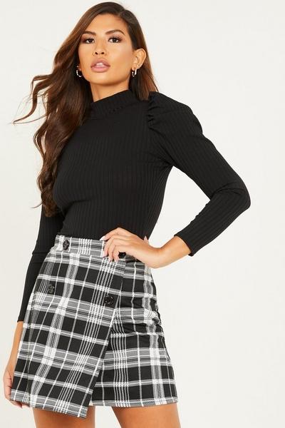 Black Check Wrap Skirt