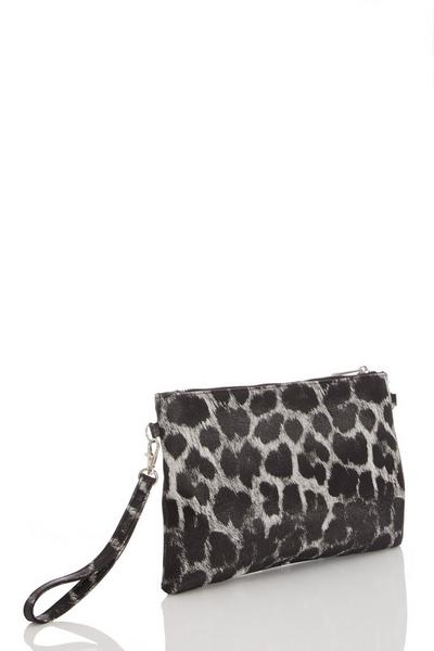 Grey Leopard Print Clutch Bag