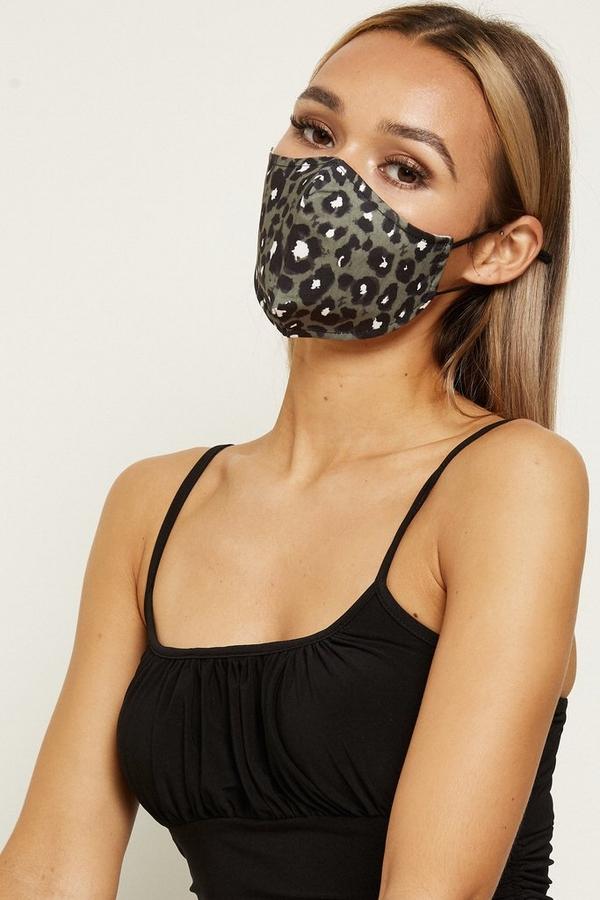 Khaki Leopard Print Fashion Face Mask