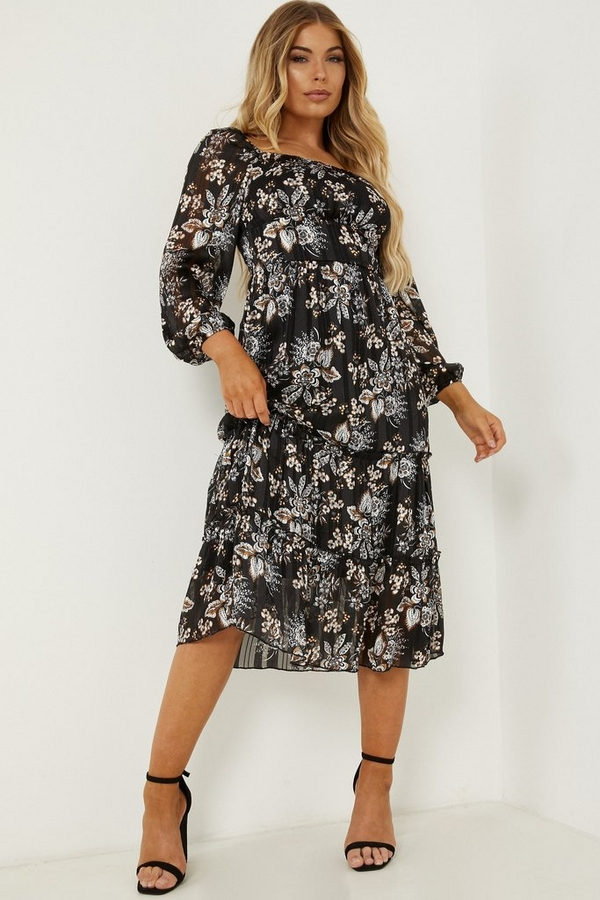 Petite Black Paisley Print Midi Dress
