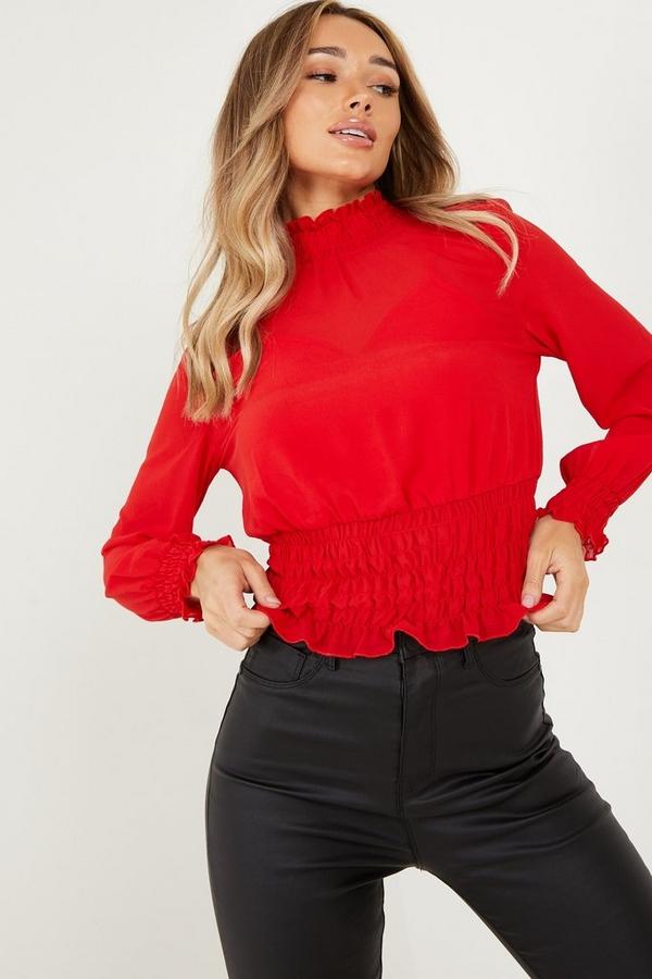 Red Chiffon Shirred Top