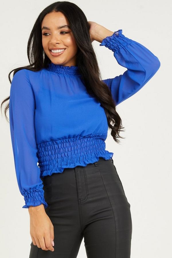 Royal Blue Chiffon Shirred Top