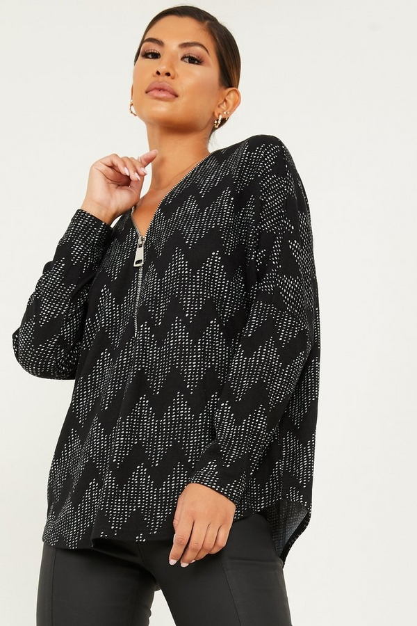 Black Knitted Abstract Zip Front Top