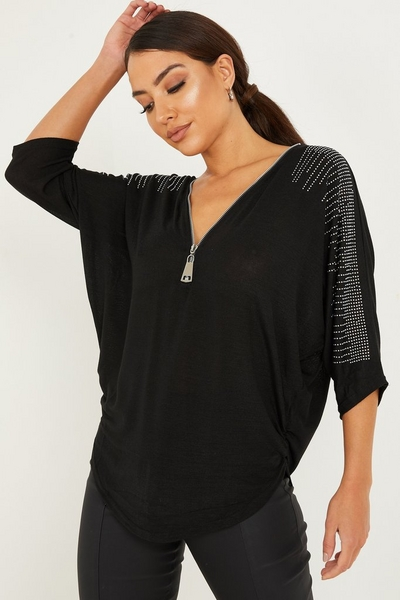 Black Light Knit Diamante Top