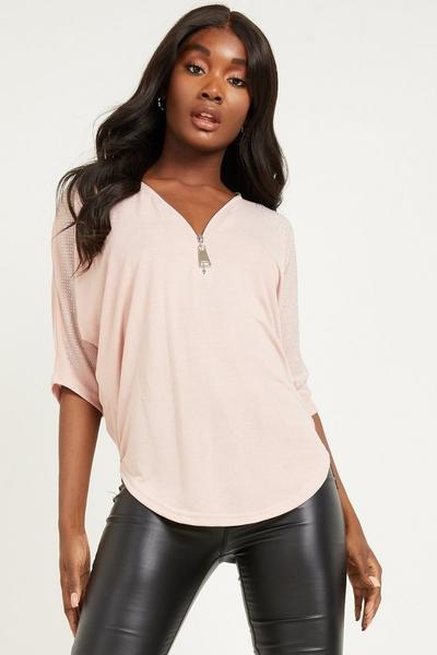 Pink Light Knit Diamante Top