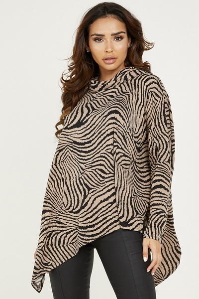 Brown Knitted Animal Print Top