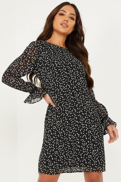 Black Chiffon Heart Print Tunic Dress