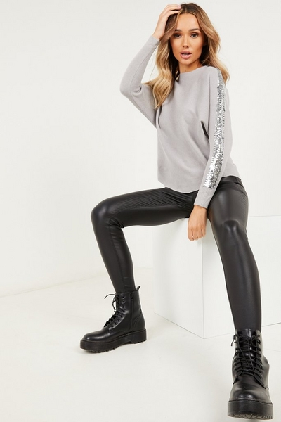 Grey Sequin Stripe Knitted Jumper