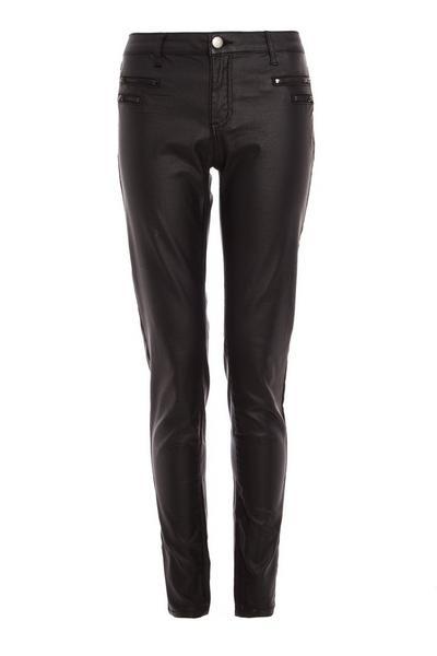 Black Zip Detail High Waist Trousers