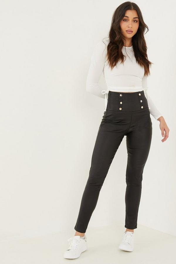 Black Button Detail High Waist Trousers