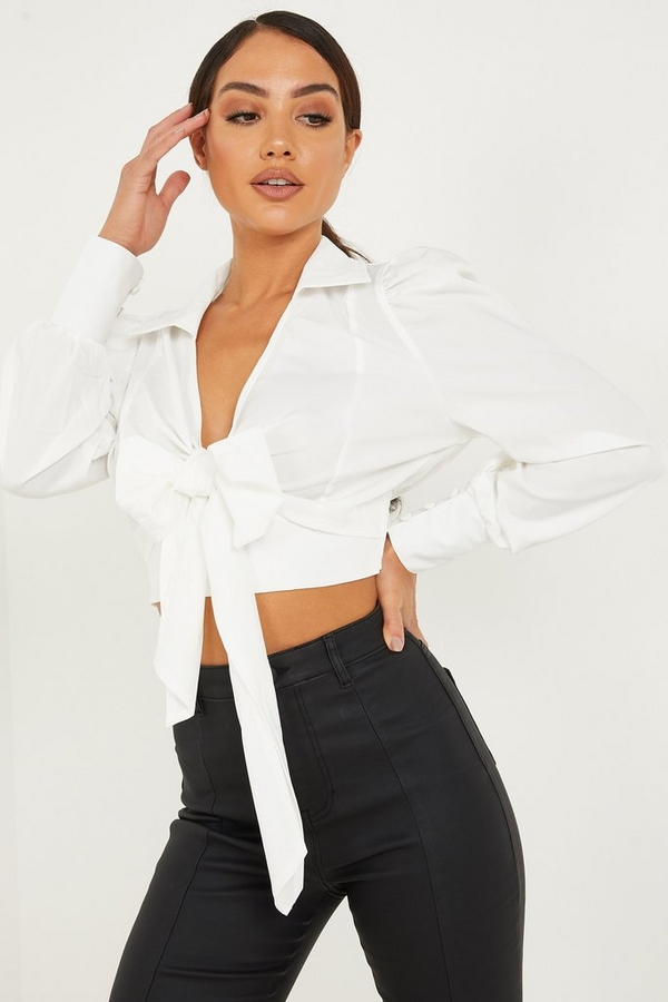 Ivory Satin Bow Front Crop Top