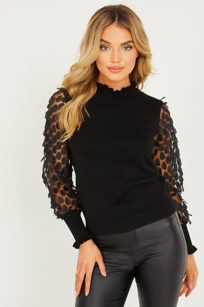 Black Knitted Mesh Sleeve Jumper