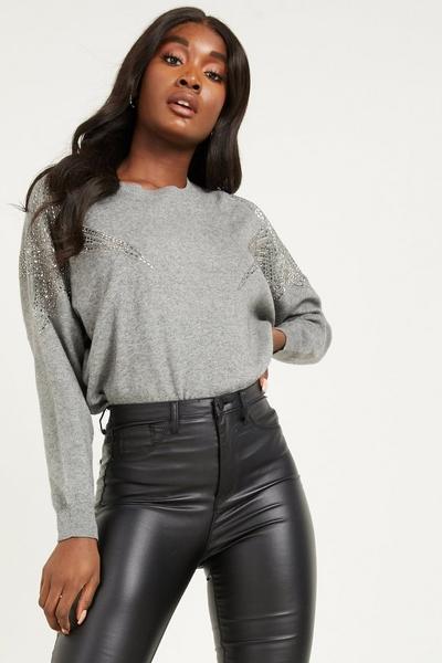 Grey Embellished Knitted Jumper