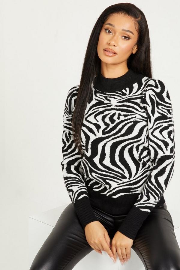 Black Zebra Print Knitted Jumper