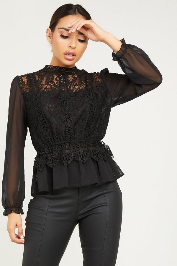 Black Crochet Turtle Neck Peplum Top