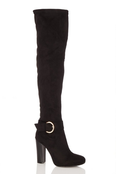 Black Over The Knee Boots Heeled Boots