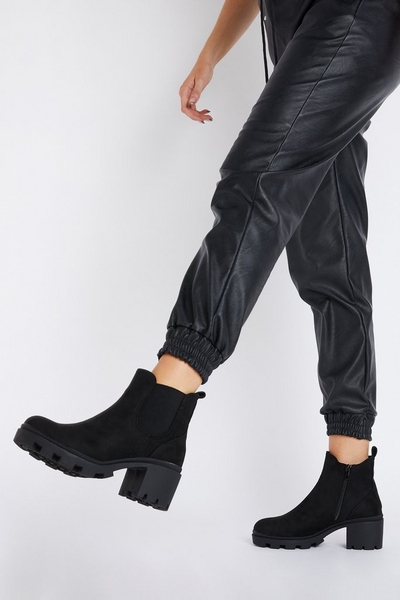 Black Faux Suede Chunky Ankle Boot