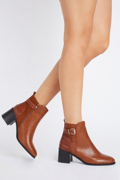Tan Buckle Detail Ankle Boot