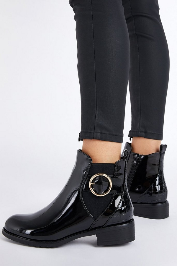 Black Patent Circle Buckle Ankle Boot
