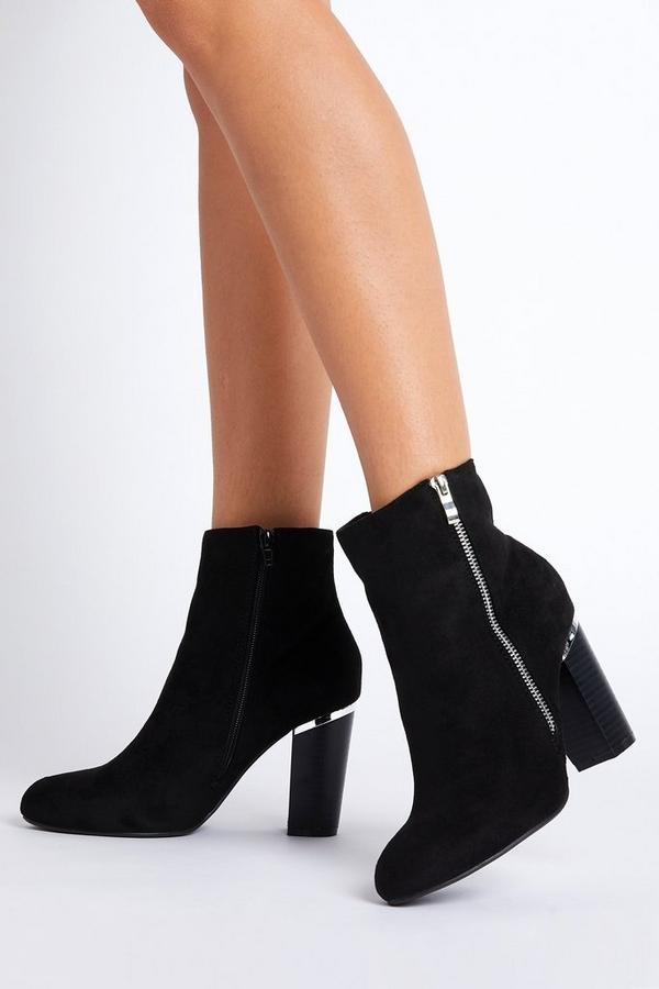 Black Faux Suede Zip Ankle Boots