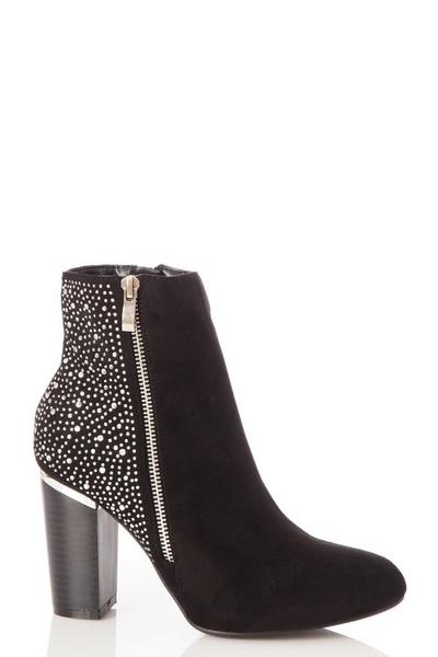 Black Diamante Heeled Boot