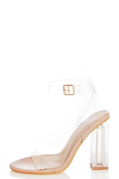 Nude Clear Block Heel Sandals