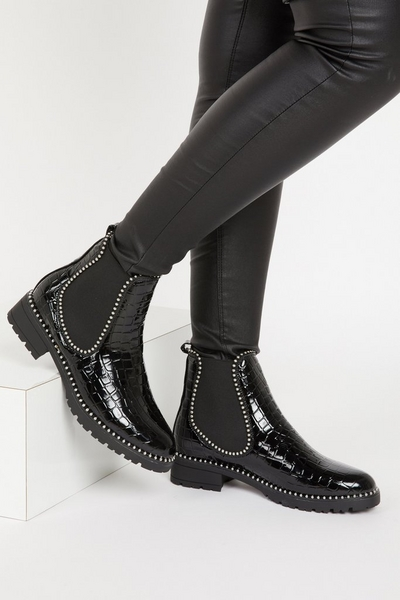 Black Crocodile Effect Ankle Boot