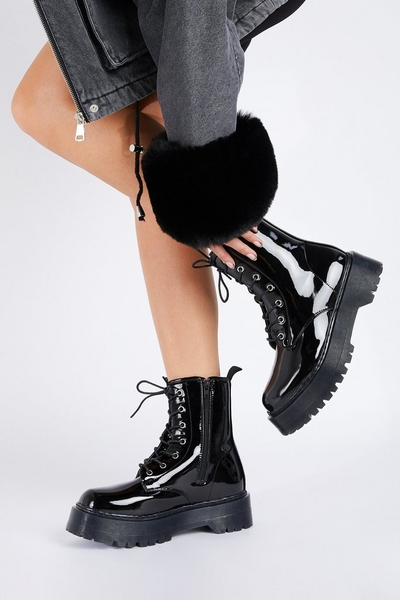 Black Patent Lace Up Ankle Boots