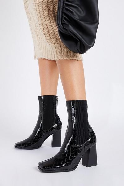 Black Patent Crocodile Ankle Boot
