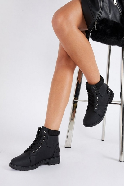 Black Faux Leather Hiker Boot