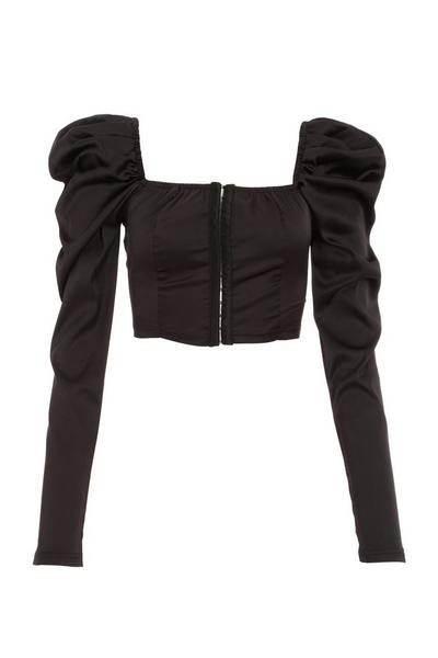 Black Satin Puff Sleeve Crop Top