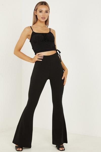 Black High Waist Flare Trousers