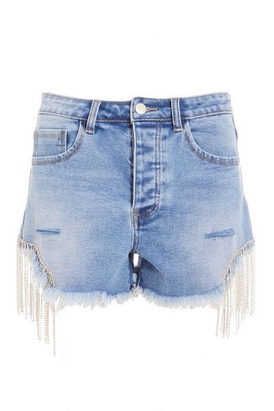 Light Blue Diamante Trim Denim Shorts