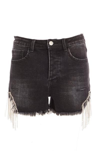 Black Diamante Trim Denim Shorts