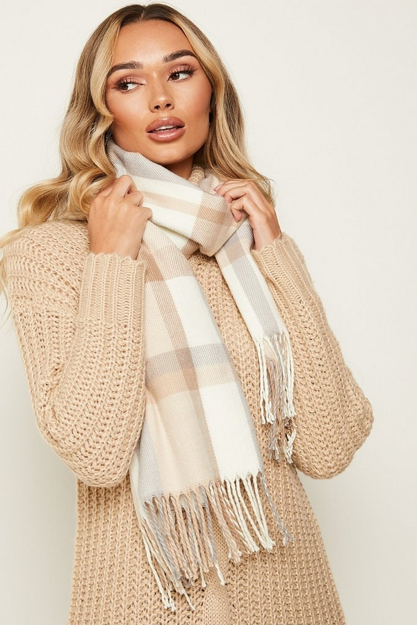 Cream Check Knitted Scarf