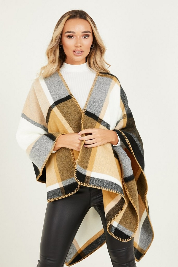 Camel Check Knitted Cape