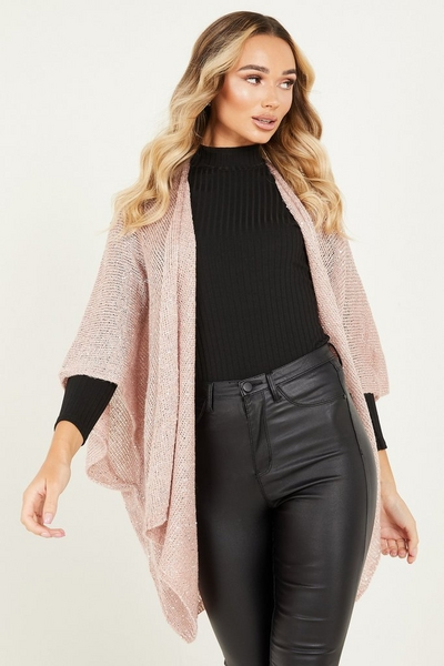 Pink Knitted Sequin Cape