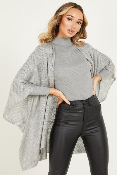 Silver Knitted Sequin Cape