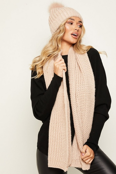 Pink Pom Hat and Scarf Set
