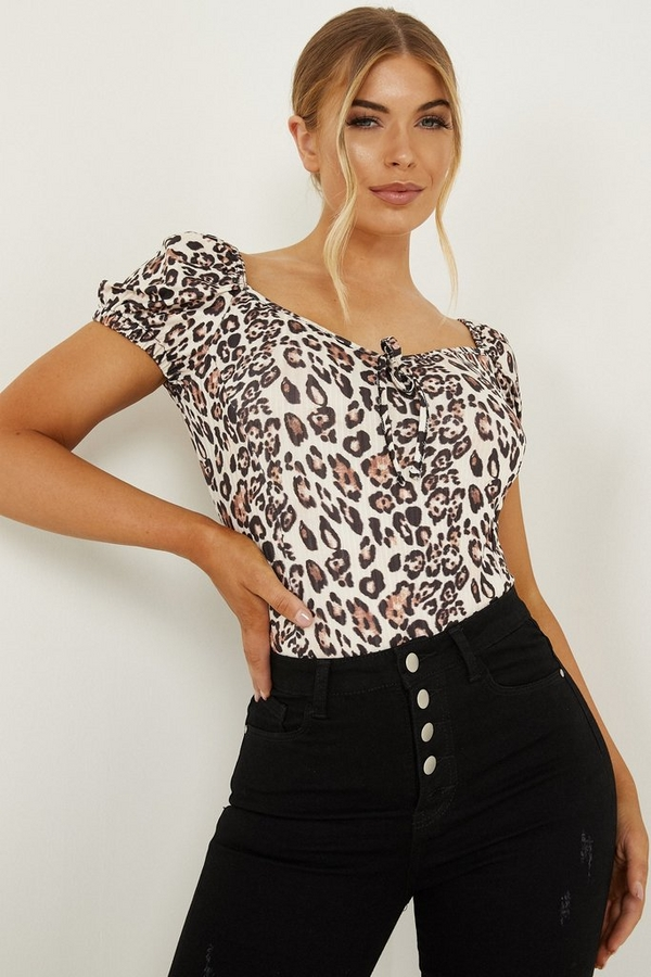 Petite Cream Leopard Puff Sleeve Bodysuit