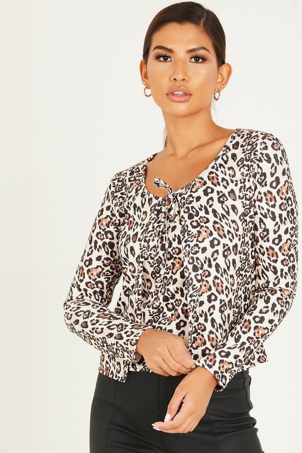 Cream Leopard Top & Cardigan Set