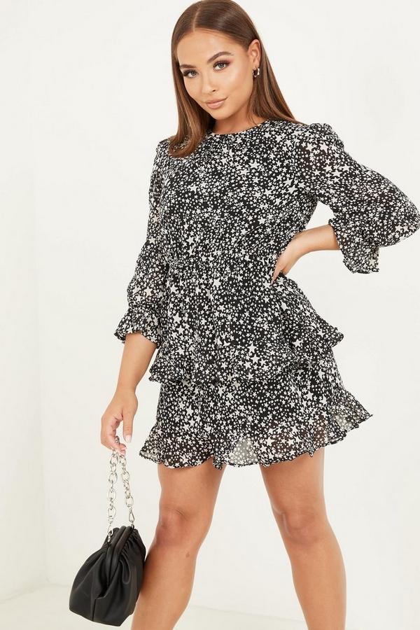 Petite Black Star Print Skater Dress