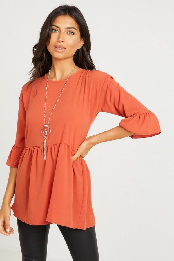 Rust Peplum Necklace Top