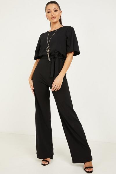 Black Batwing Necklace Jumpsuit