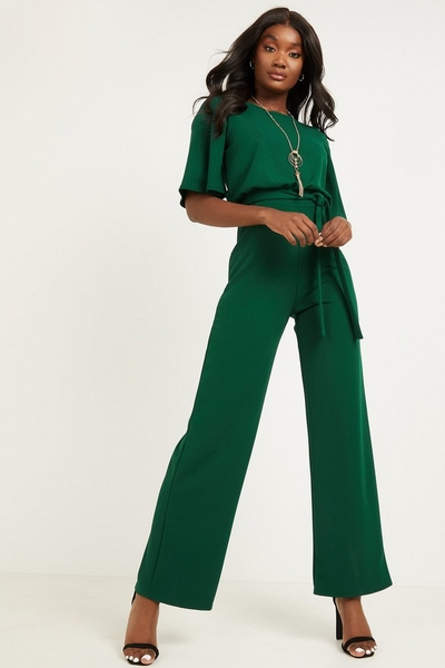 Green Batwing Necklace Jumpsuit