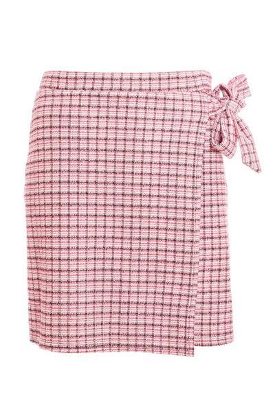 Pink Check Wrap Mini Skirt