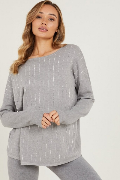 Grey Diamante Knitted Jumper